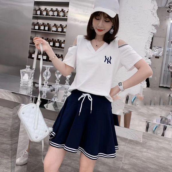 TS18539#刺绣字母露肩短袖棉T恤+太阳短裤裙学生时尚休闲运动套装潮