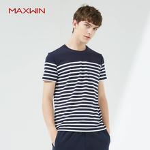 马威韩版简约条纹圆领短袖T恤