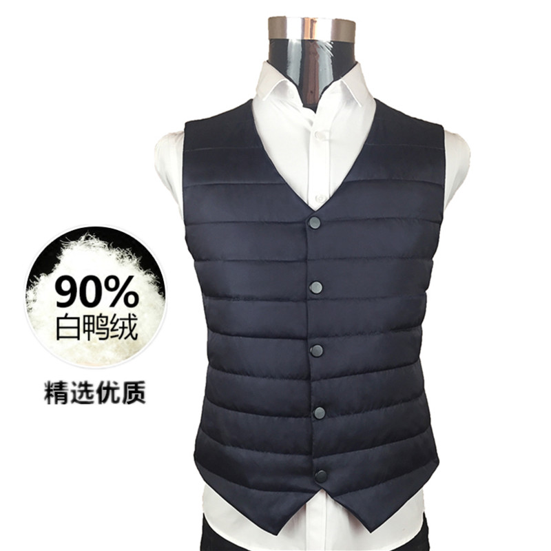 Light down suit, vest, autumn and winter fit, young and middle-aged mens down vest, mens inner tank, warm shoulder