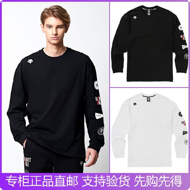 DESCENTE/迪桑特韩国代购19秋男女圆领LOGO长袖运动T恤S9323HTL81