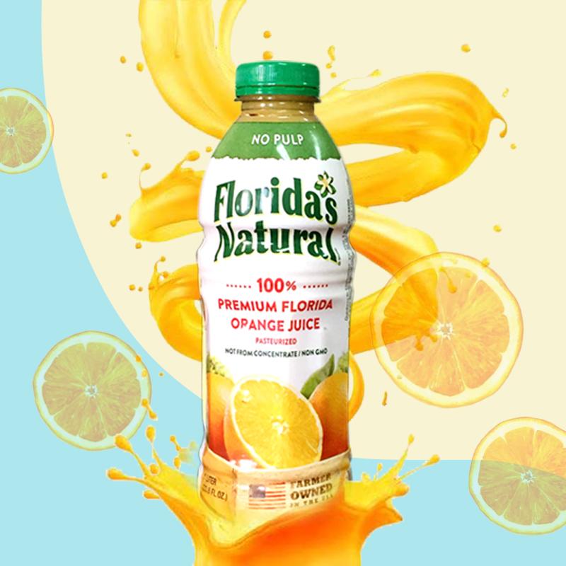 Florida nfc100% orange juice 1lx1 bottle sucrose free light fasting pure juice beverage imported from the United States