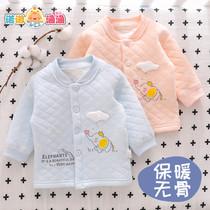 婴儿保暖单件上衣新生宝宝空气棉无骨内穿开衫秋衣秋冬季纯棉衣服