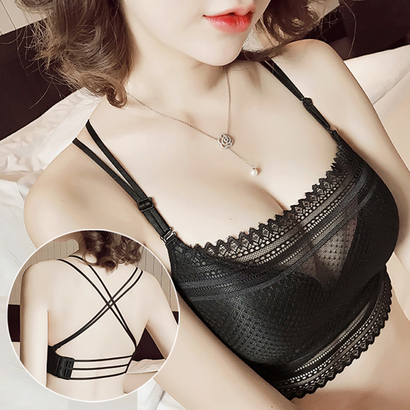 Lace Strapless Wrapped Chest Anti Emptied Bra Sexy Cross-Back Small Chest Gather No Rims Underwear JB0101