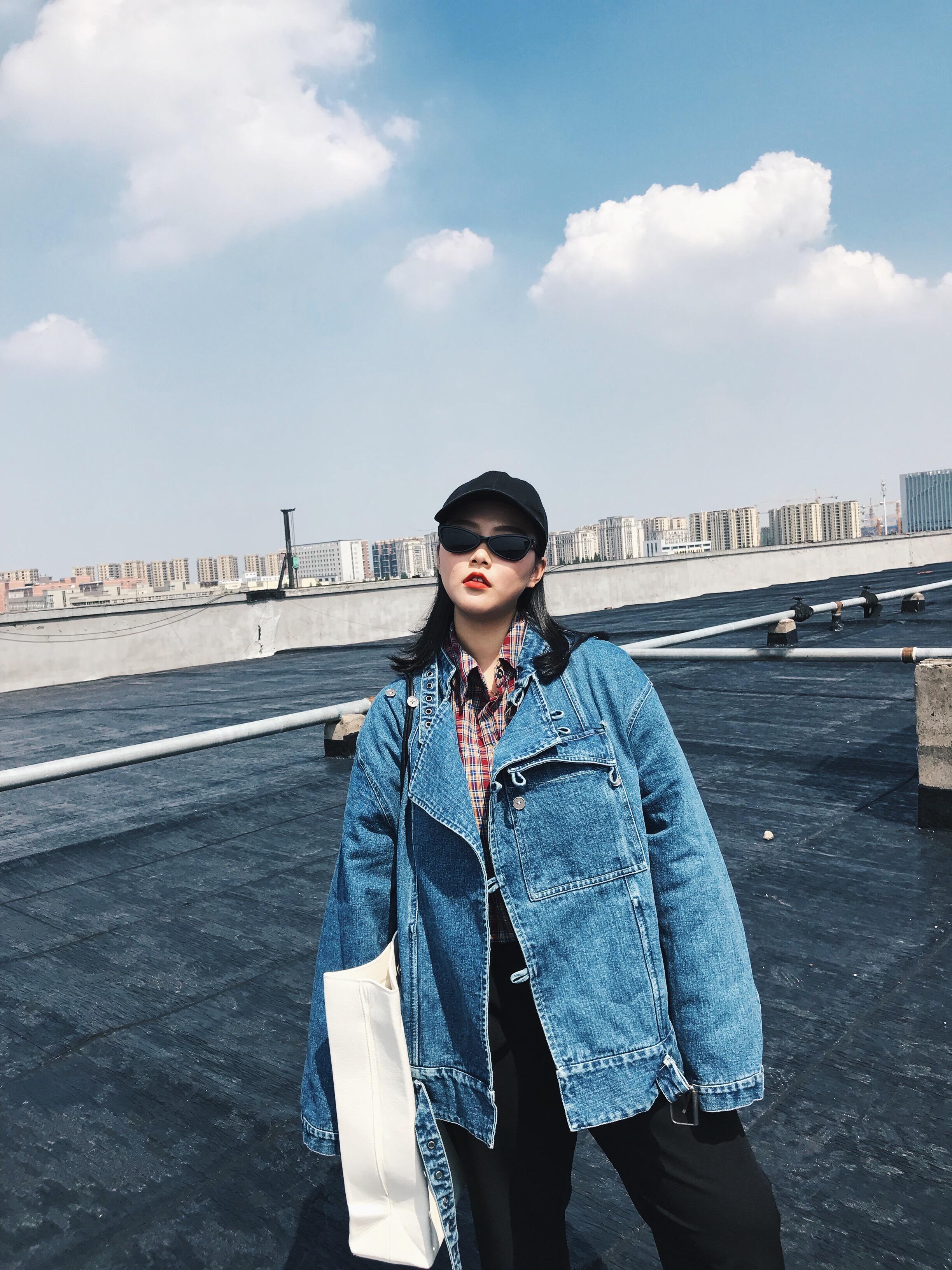 阿周家2018秋季新款韩版微胖大码女装胖MM宽松百搭长袖牛仔外套潮