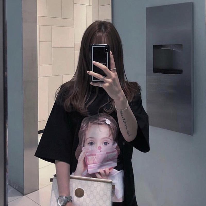 韩国潮牌短袖T恤女装甜甜圈卡通图案纯棉中长款男装情侣款大码