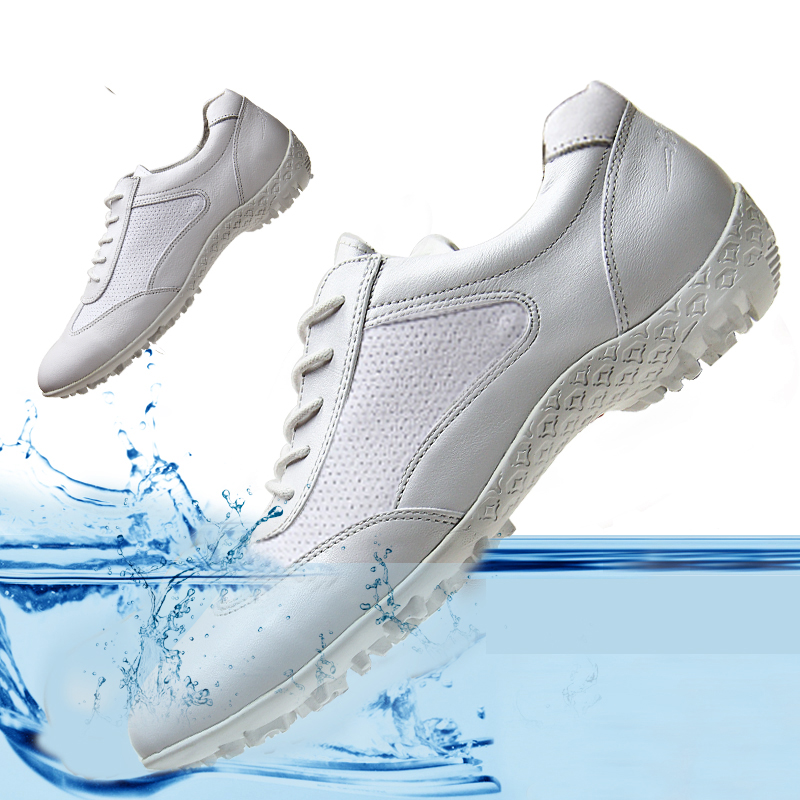 Golf shoes childrens Waterproof Golf shoes golf casual shoes leather antiskid fashion Korean small white shoes