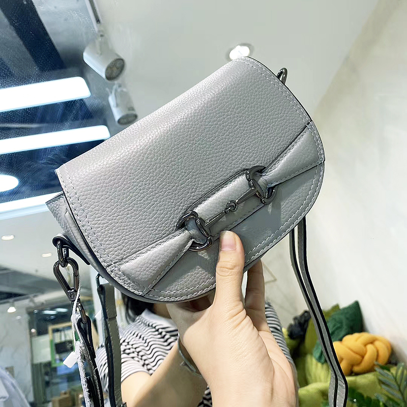 First layer leather small round bag, single shoulder, Crossbody, real leather bag, small and personalized, Korean version leather womens bag, fashionable with youth 6030