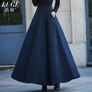 秋冬裙子2018新款毛呢长裙半身裙中长款a字裙高腰纯色大摆裙冬裙