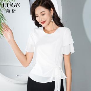 配阔腿裤的上衣女夏季气质白色雪纺衫薄款短袖小衫搭配裙子半身裙