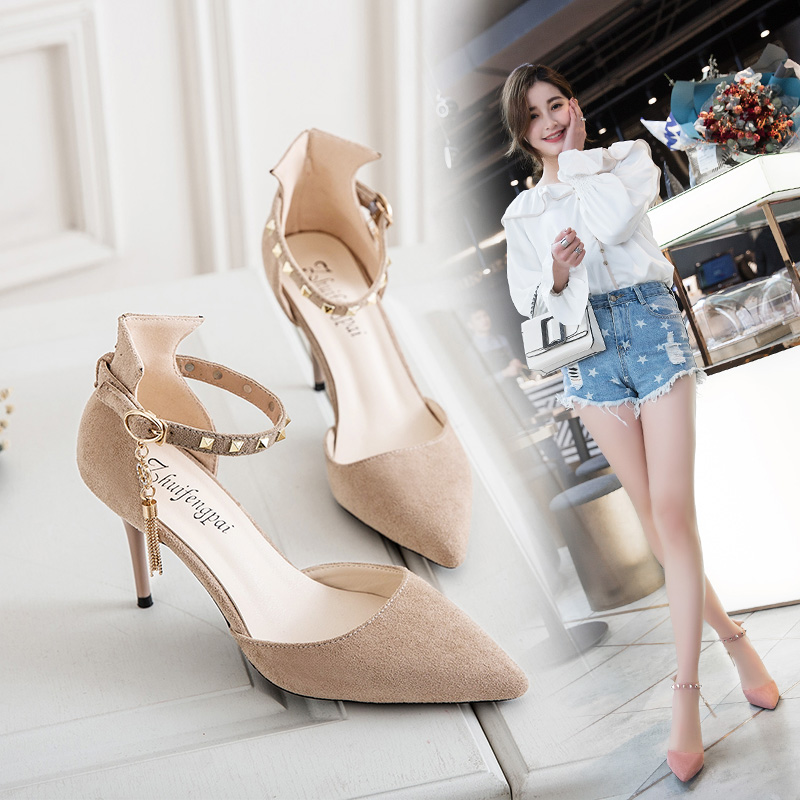 High heeled womens stiletto womens shoes spring 2020 new Mid Heel pointed spring versatile shoes summer shallow single shoes