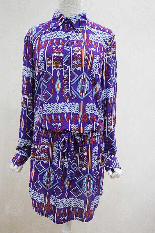Domestic brand single street simple ethnic style geometric pattern holiday style long sleeve dress shirt skirt spring and Autumn