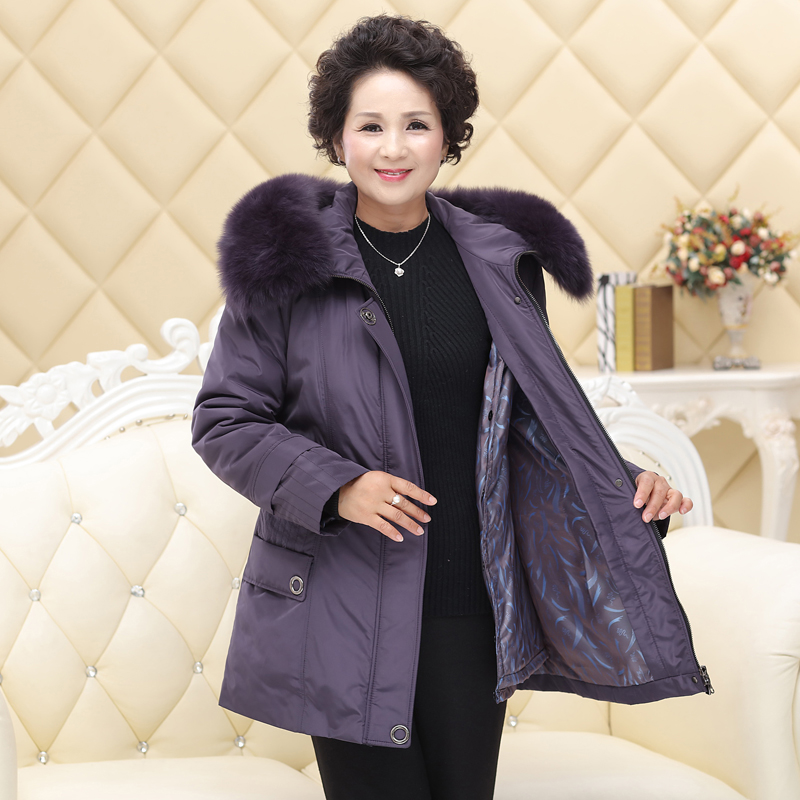 Nixie womens middle-aged and old mothers Parka Coat Rex Rabbit Fur inner courage pie overcome granny fur coat detachable