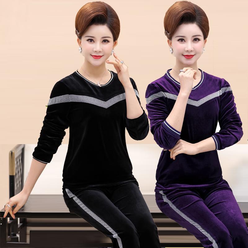 中老年女装春装时尚运动服装中年套装妈妈秋装金丝绒两件套40岁50