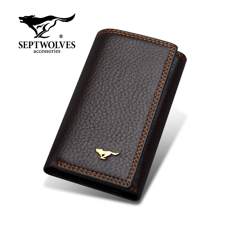 Seven wolves large capacity key pack mens real leather card pack zero wallet key chain two in one key pack womens multi-function
