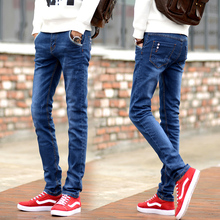 Jeans for men in autumn and winter, plush, elastic and fit for teenagers, 9-point Leggings for men, slim pants for men in Korean
