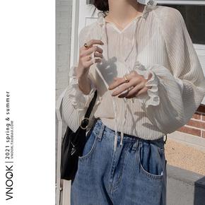 VNOOK 洋气打底蕾丝衫女2021早春新款韩版宽松气质内搭雪纺上衣