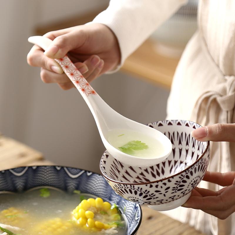 出口日本家用日式和风勺子陶瓷长柄汤勺匙调羹大号搅拌勺喝汤餐具