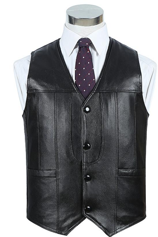 Autumn and winter leather vest with leather and fur integrated anti-theft single cotton sheepskin vest for men