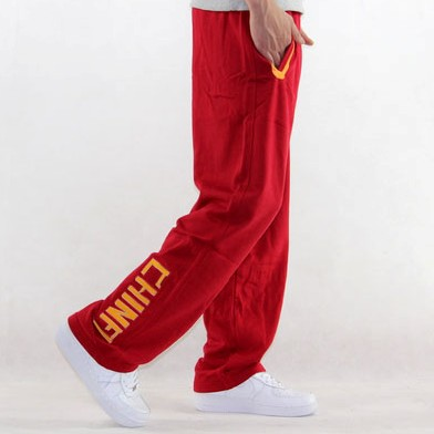 中国队男纯棉篮球运动长裤卫裤 CHINA国家队休闲裤加绒长裤子红色