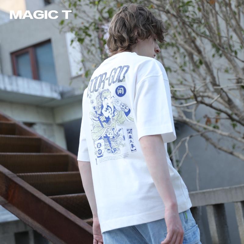 原创设计师品牌中国风传统元素纯棉印花宽松版国潮短袖男夏装T恤