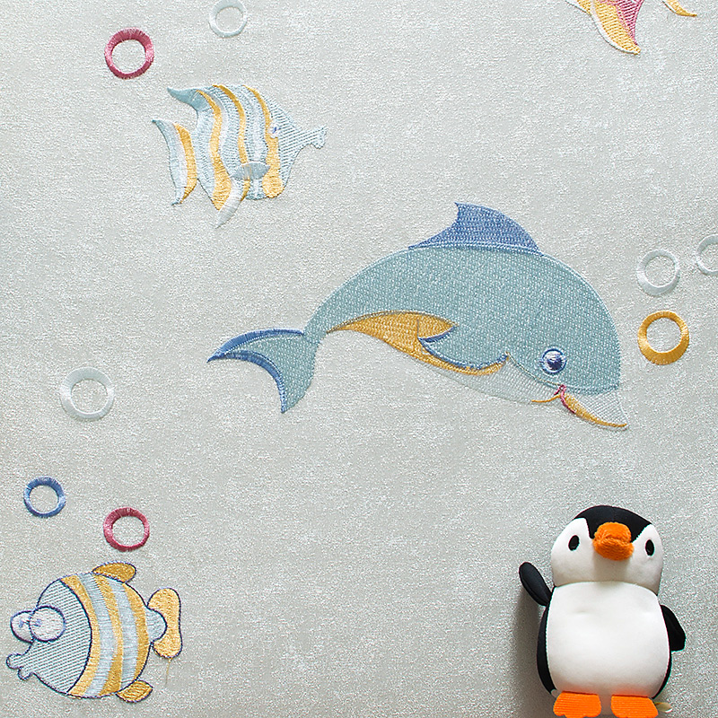 刺绣无缝墙布卡通动物壁布海洋海豚小鱼卧室背景墙儿童房儿子男孩