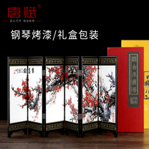 Desktop small screen decoration lacquerware Antique Panda mini Beijing Memorial Chinese Special gifts send foreigner gifts