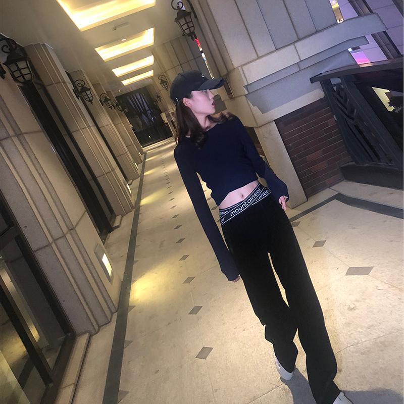 10月10日最新优惠2019佑斯黑色字母高腰金丝绒阔腿裤