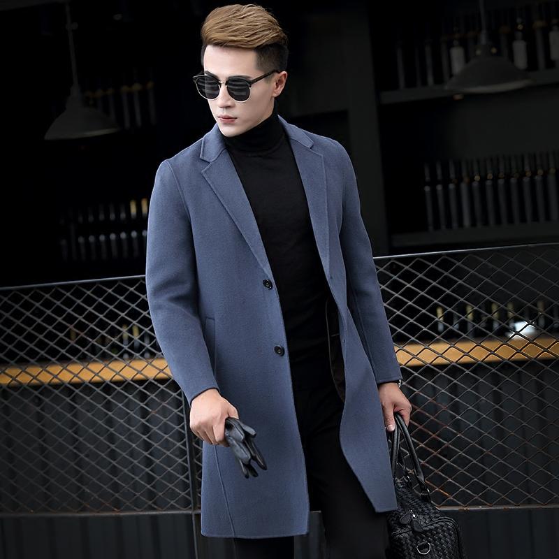 蒙多・凯威高端羊绒双面呢大衣羊毛呢大衣西装领中长款韩版修身潮