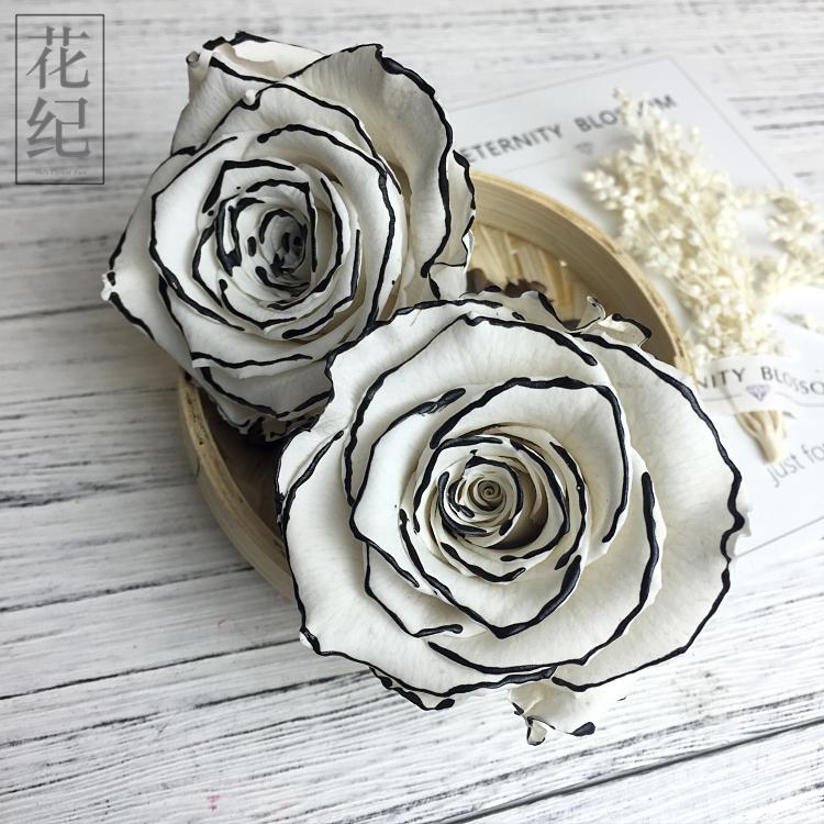 花�o永生花diyr��烀倒宕筇�roseamor厄瓜多���M口5-6cm黑�白玫