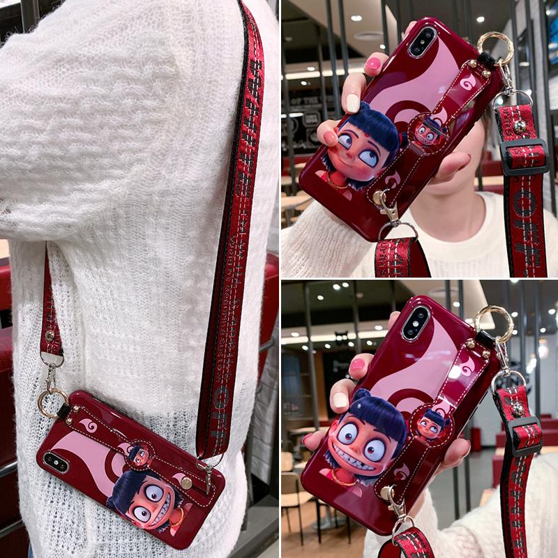 苹果x女可爱8plus腕带7p 6s手机壳