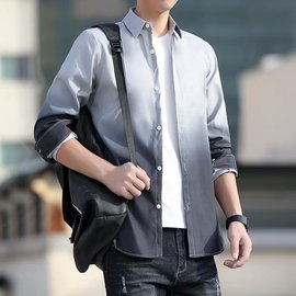 春夏季新款长袖衬衫男士韩版修身学生潮流渐变上衣服男装薄款衬衣图片