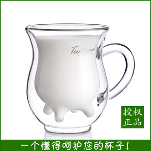 Authentic teatime creative Milk double glass microwave resistant personalized mug with lid water cup