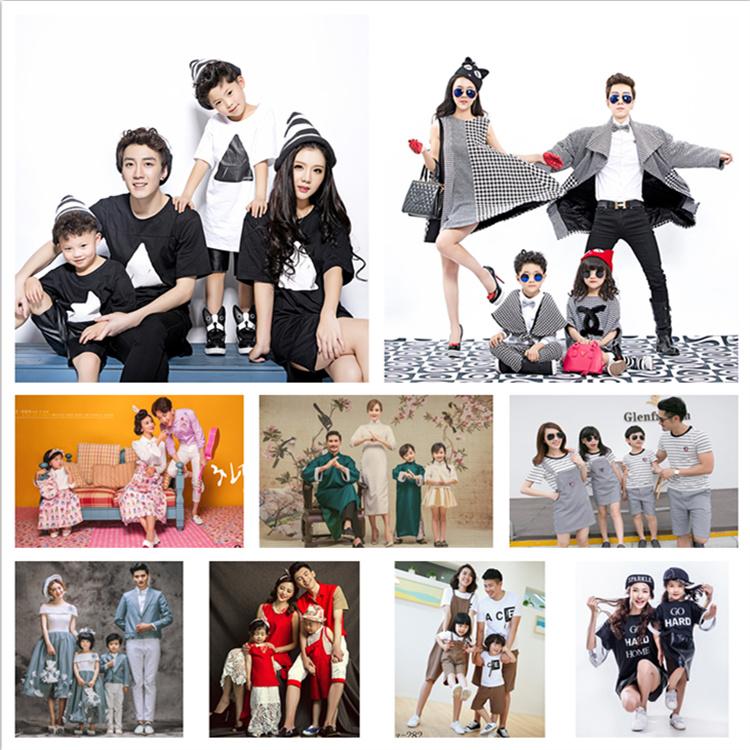 19新款儿童摄影服装 影楼亲子装 一家四口全家福艺术拍照写真衣服