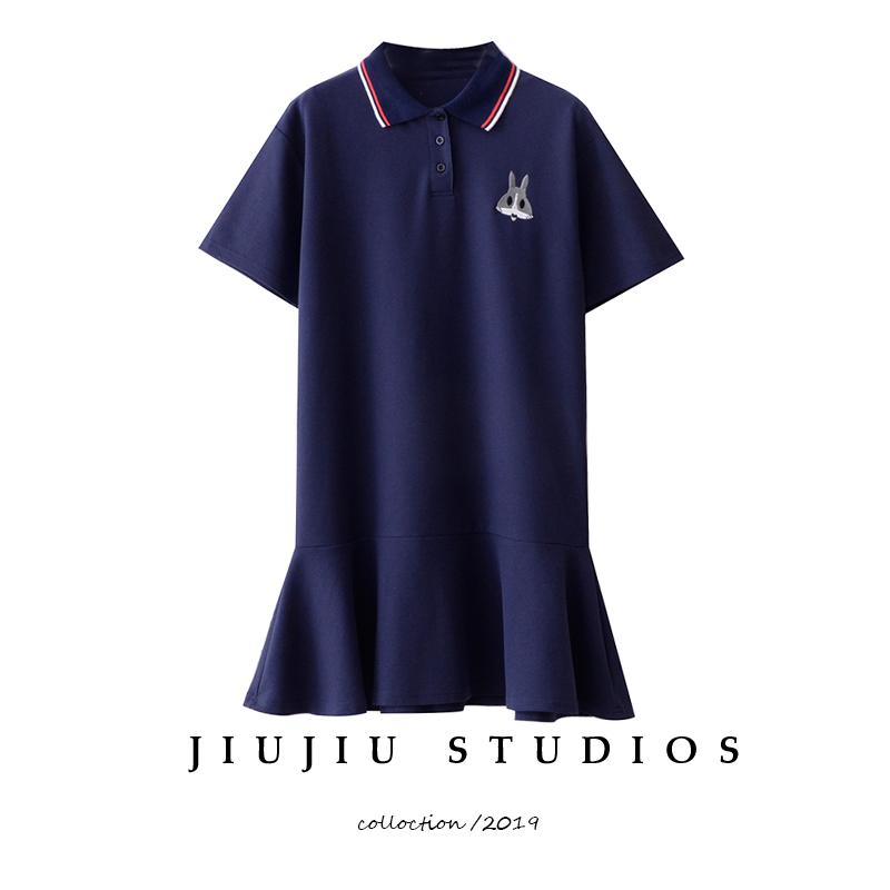 刺绣兔子学院风polo领2019 t恤裙子(用20元券)