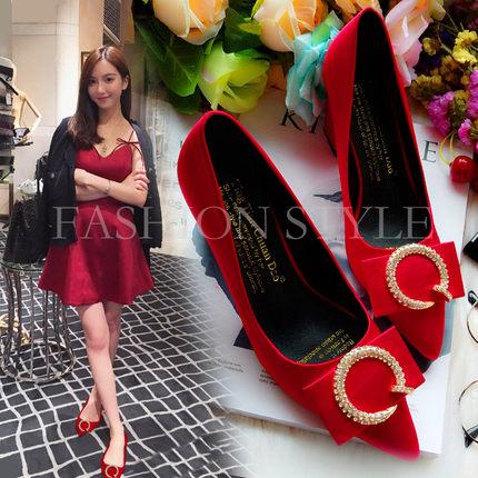 2018夏季新品方扣粗跟高跟浅口女鞋尖头中跟工作单鞋红色新娘婚鞋