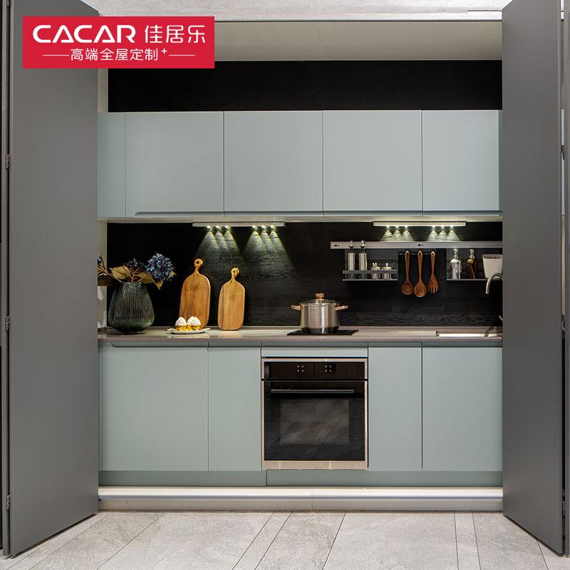 佳居乐全屋定制烤漆橱柜整体门板隐蔽式厨房台面石英石厨柜不锈钢