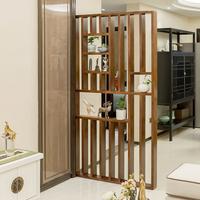 Новый китайский стиль простой дерево экран вход гостиная отрезать современный простой дерево сиденье экран сетка бар гостиная фон стена