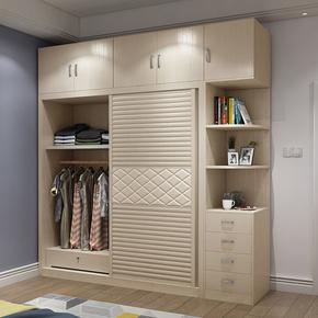 推拉门衣柜简约现代卧室整体趟门大衣柜移门组装柜子板式组合衣橱
