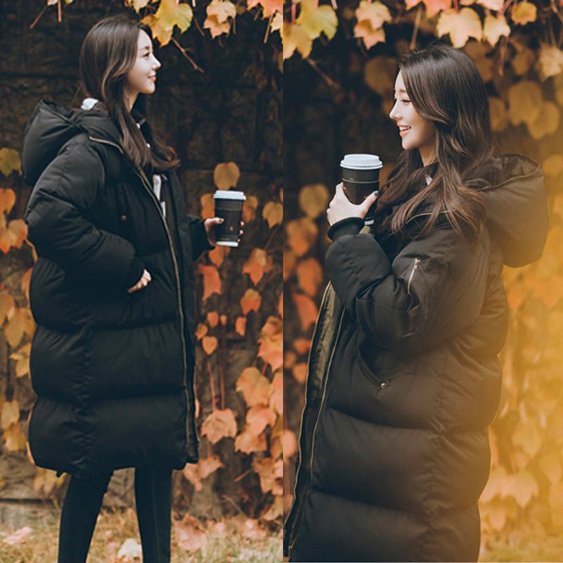 冬季羽绒棉服加厚外套东北大棉袄2019年新款女中长款黑棉衣面包服
