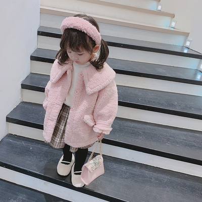 One by one baby girl coat autumn and winter foreign style kids 2020 new fur coat imitation fur coat