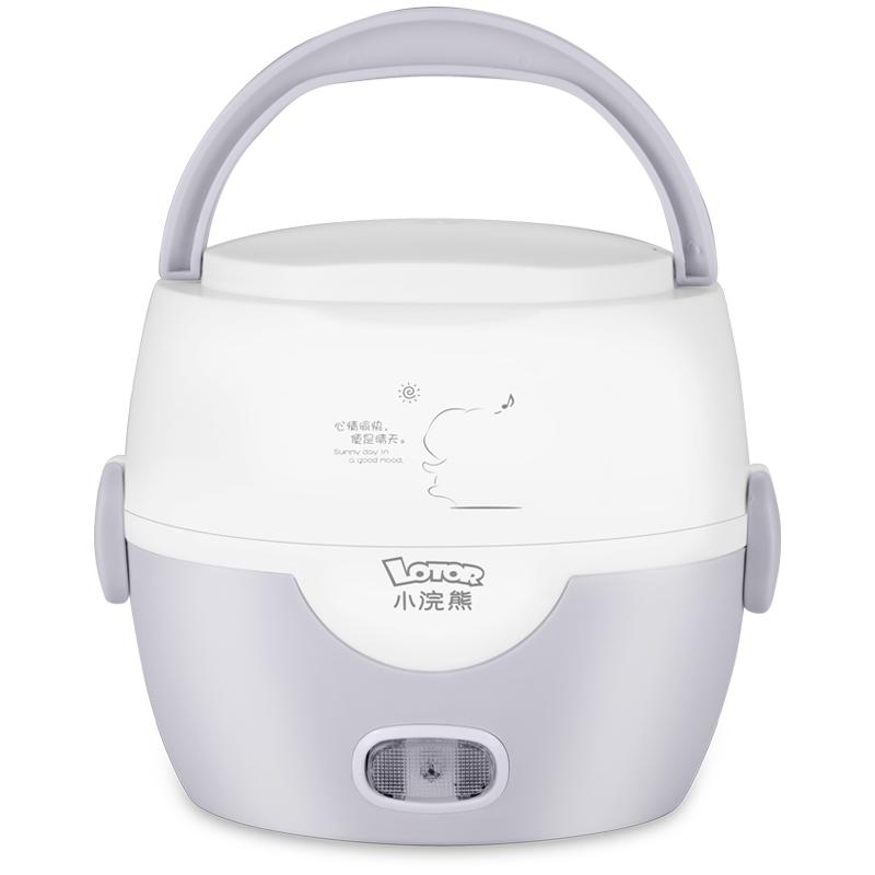 小浣熊电热饭盒双层保温饭盒可插电加热煮热饭器迷你电饭盒蒸饭器