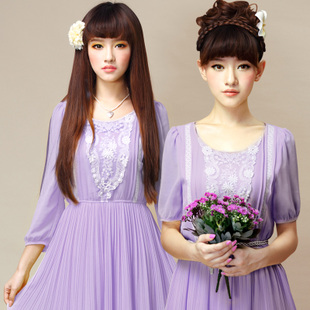 Sahara summer new women elegant retro romantic chiffon dress purple lace old story