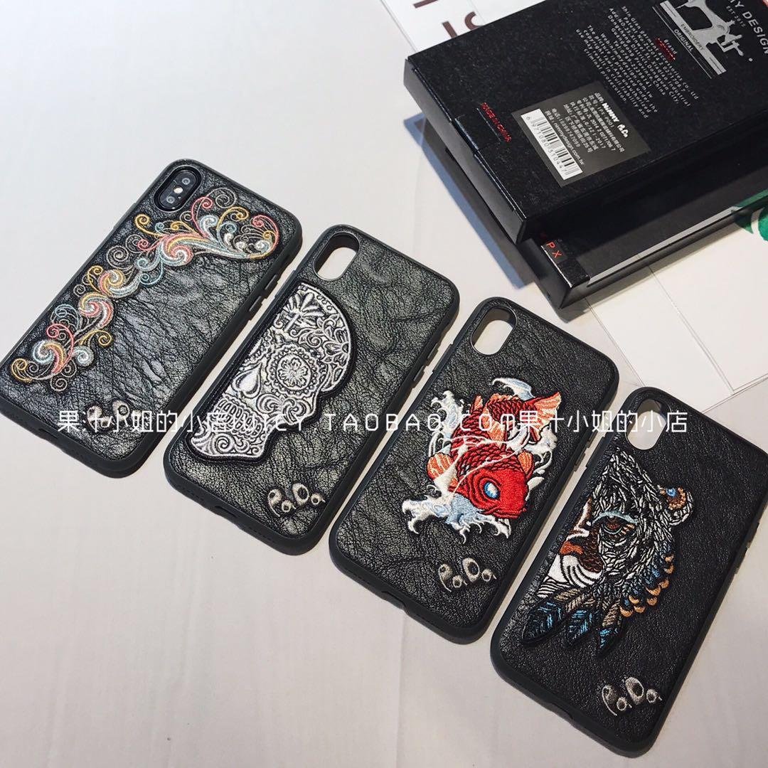 日本潮牌老虎骷颅刺绣苹果7手机壳不包邮