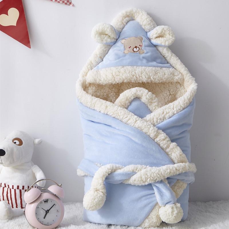 新生儿宝宝抱被婴儿包被秋冬季加厚款保暖用品初生儿襁褓外出抱毯,可领取2元天猫优惠券