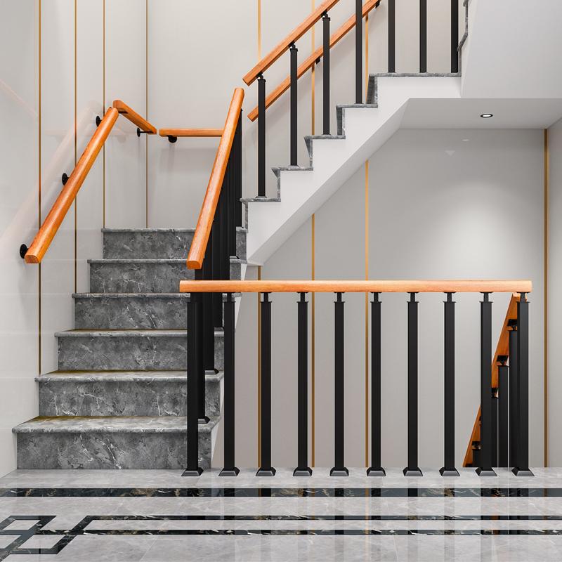 简约现代旋转楼梯扶手护栏室内复式阁楼栏杆立柱别墅家用实木围栏