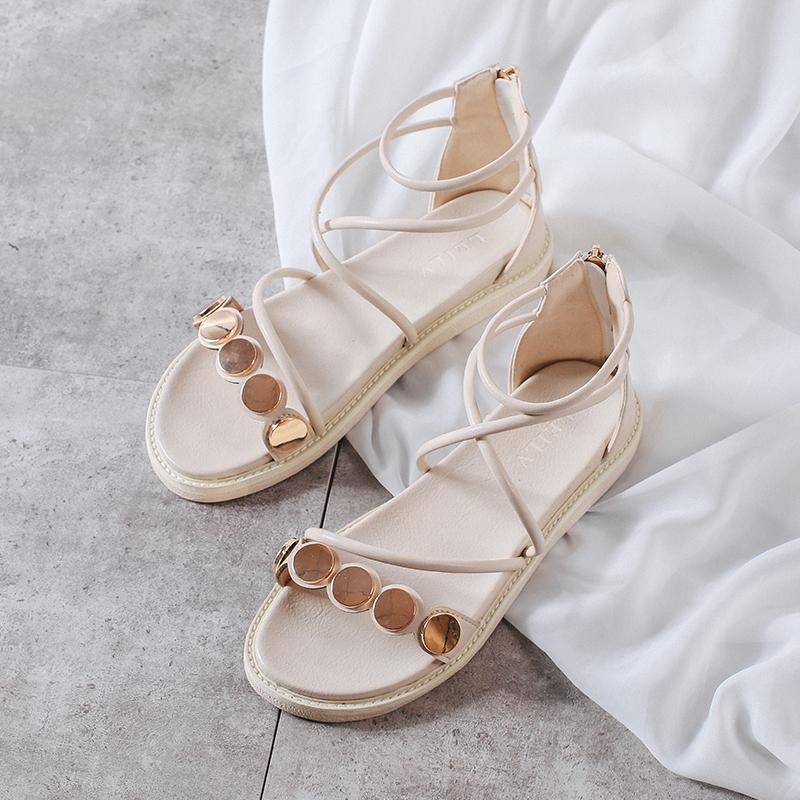 大码女鞋41-43平底凉鞋脚宽脚胖2019夏季新款仙女风交叉绑带40 42