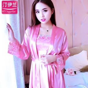 睡衣女秋天冰丝长袖仿真丝性感吊带睡裙女两件套装可外穿韩版