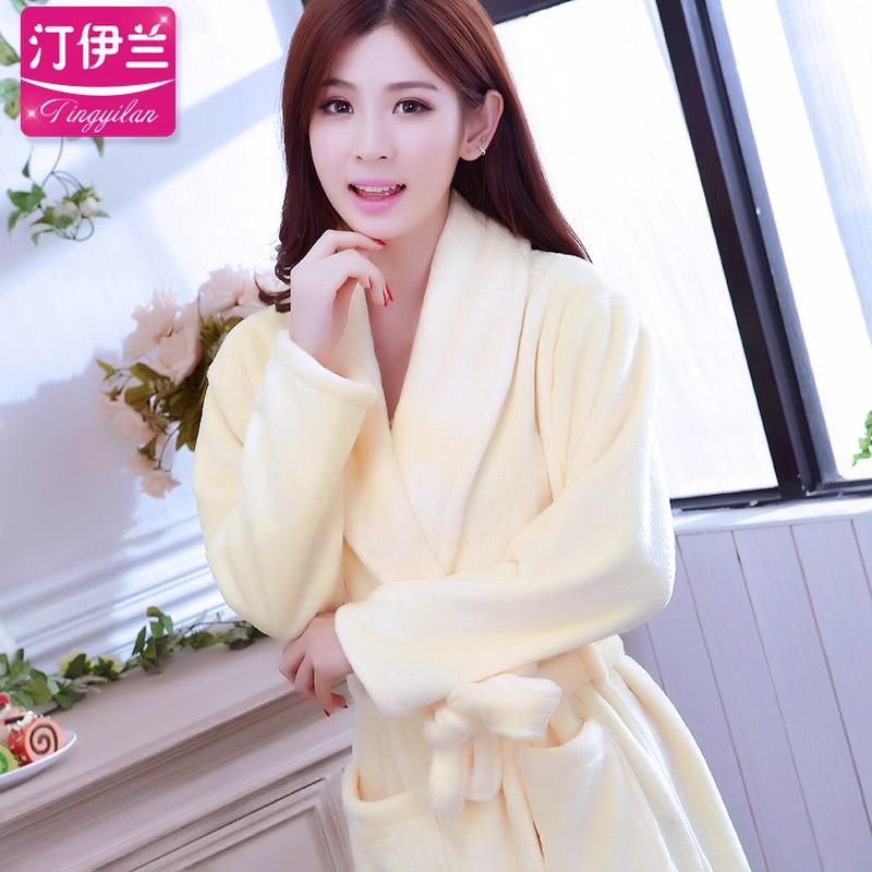 法兰绒秋冬季长袖加大码黄色睡袍