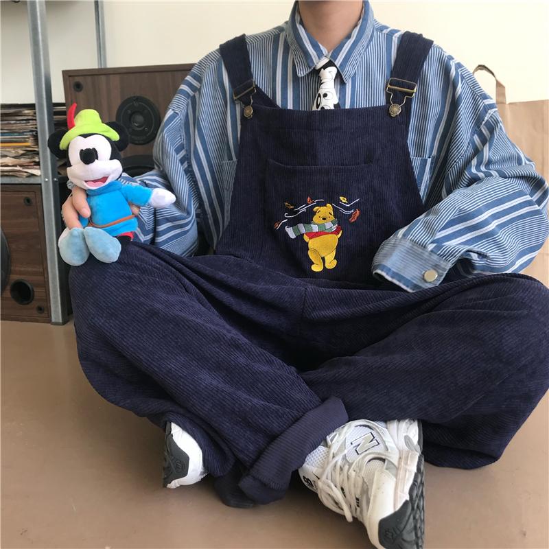 巨兽人文艺日系情侣休闲潮牌背带裤宽松连体裤灯芯绒吊带裤男女