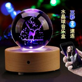 水晶球麋鹿天空之城木质音乐盒八音盒diy送女孩生日礼物女生儿童图片